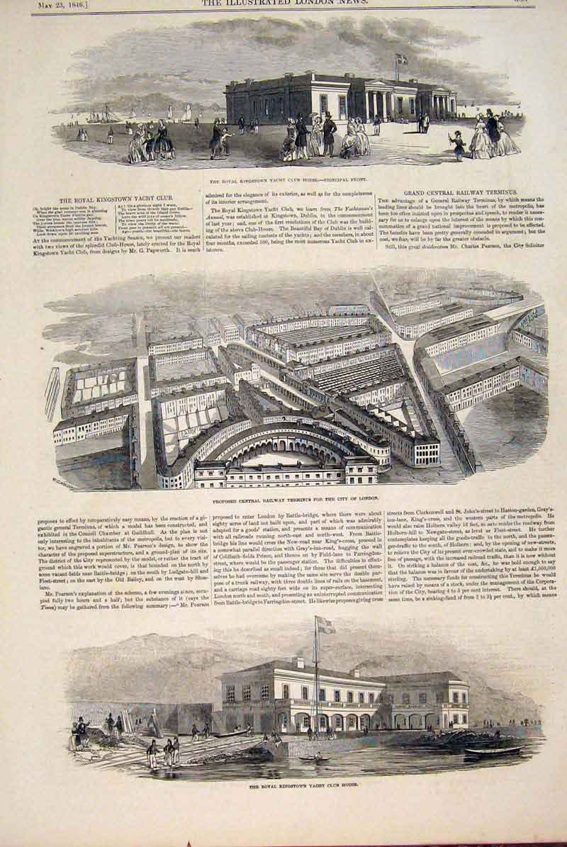 Print Kingstown Yacht Railway Terminus Building London 1846 33Maa0 Old Original