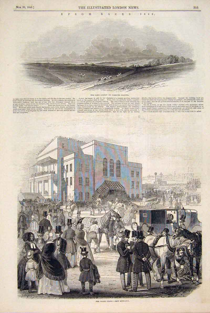 Print Epsom Races Grand Stand Weighing Room Horse Race 1846 53Amaa0 Old Original
