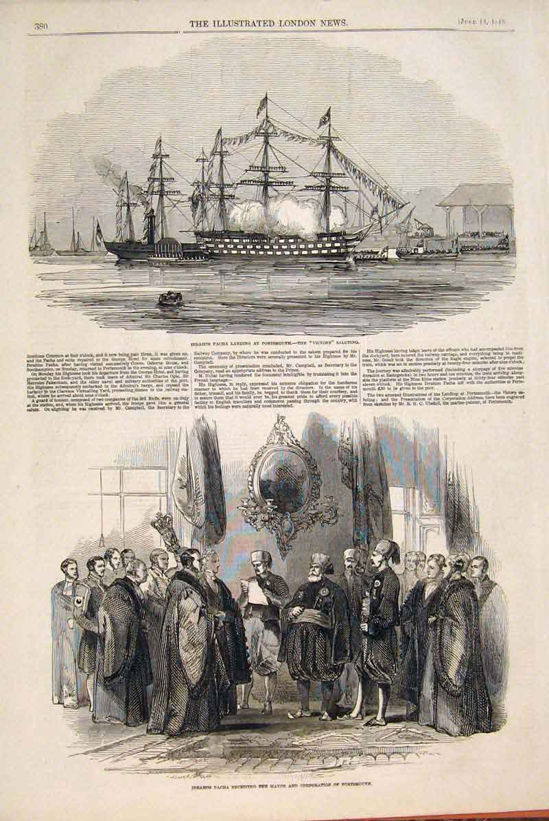 Print Victory Ship Portrsmouth Ibrahim Pacha Mayor 1846 80Maa0 Old Original