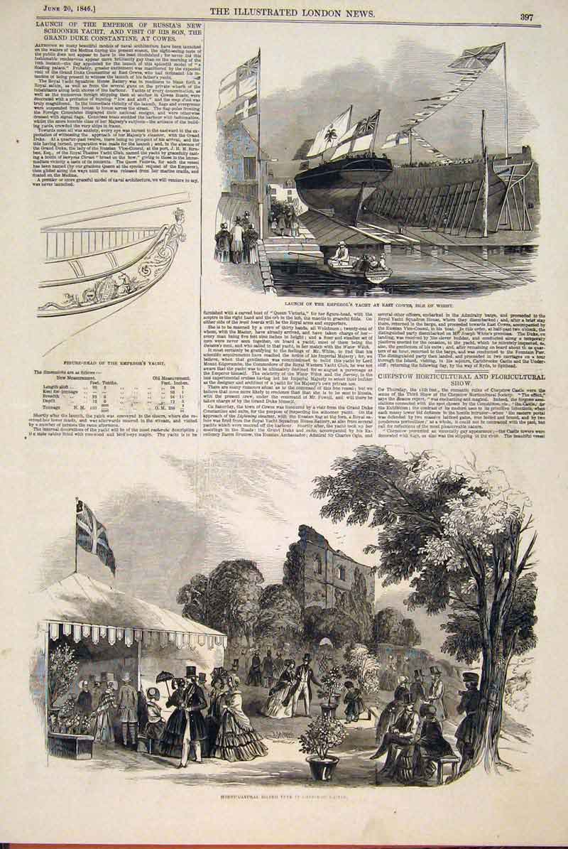 Print Isle Wight Emperor Yacht Fete Chepstowe Castle 1846 97Maa0 Old Original