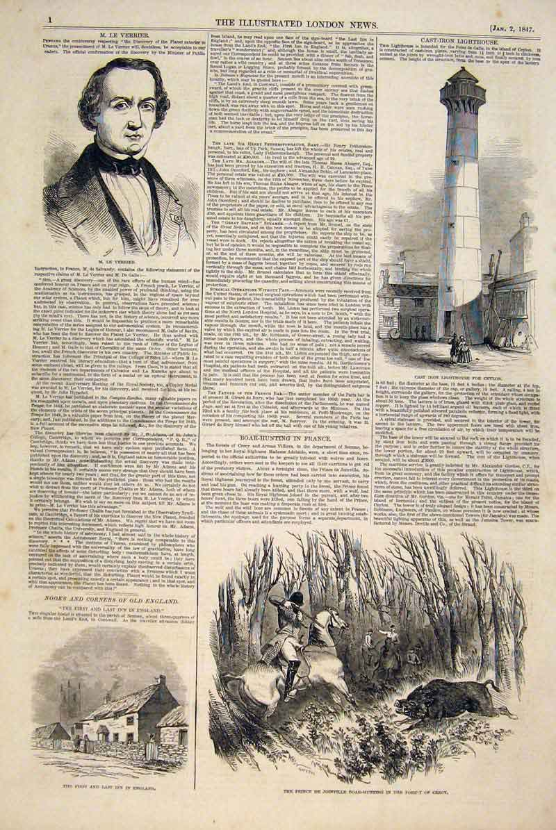 Print Portrait Verrier Iron Lighthouse Ceylon Boar Hunt Crecy 01Maa0 Old Original