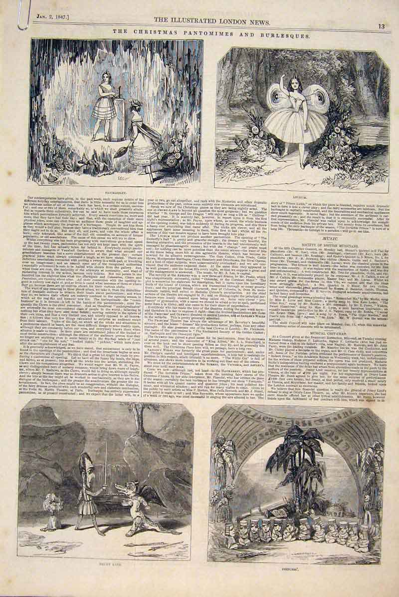 Print Christmas Pantomimes Theatre Burlesques Opera Harpe 13Amaa0 Old Original