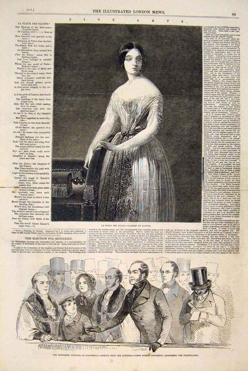 Print Flower Lady Fleur Dubufe Middlesex Election Grosvenor 89Maa0 Old Original