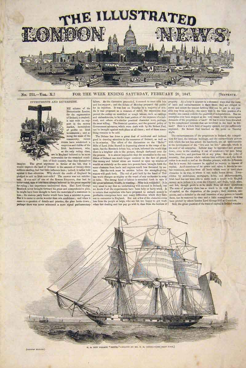 Print Thetis Condy Frigate Ship Sea 1847 14Maa0 Old Original