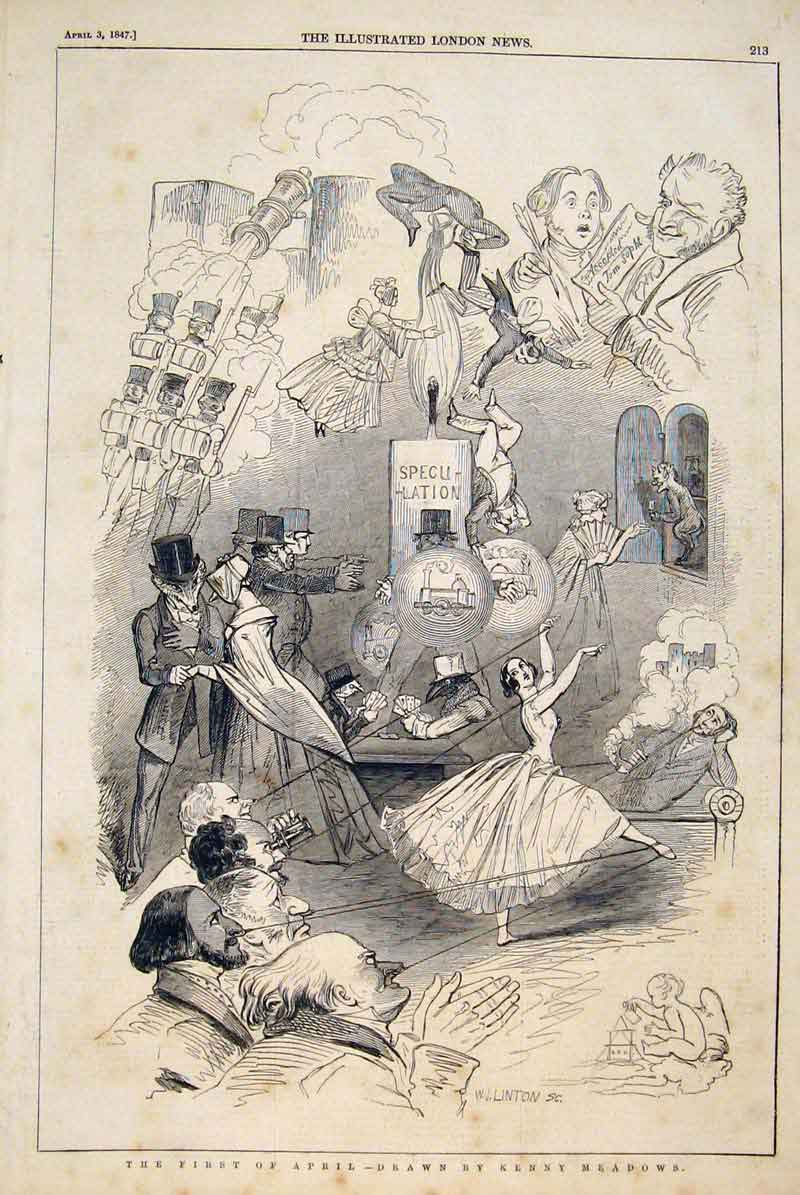 Print Kenny Meadows Sketches April Ballerina Theatre 1847 13Maa0 Old Original