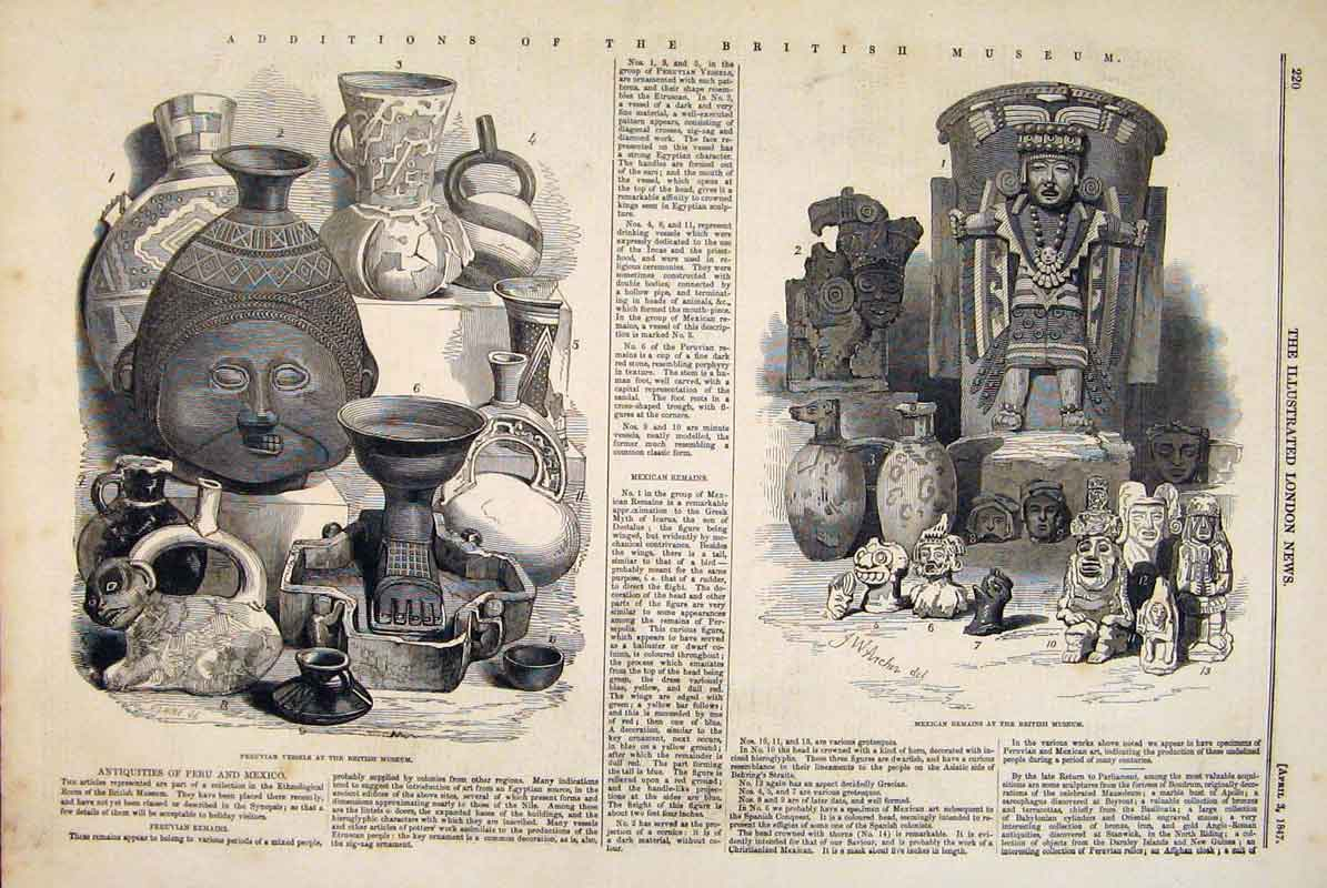 Print British Museum Peruvian Vessels Mexican Remains 1847 20Maa0 Old Original
