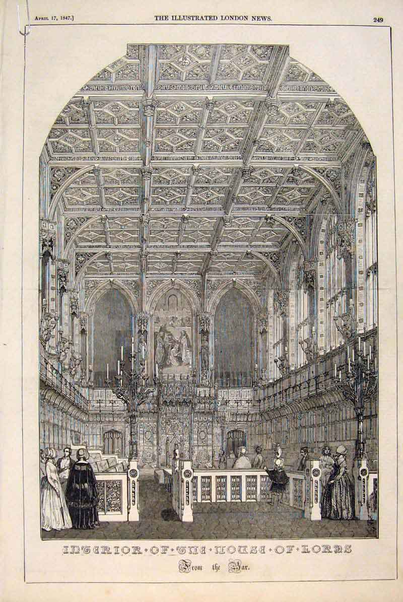 Print House Lords London Interior Exterior Court Panels 1847 49Amaa0 Old Original