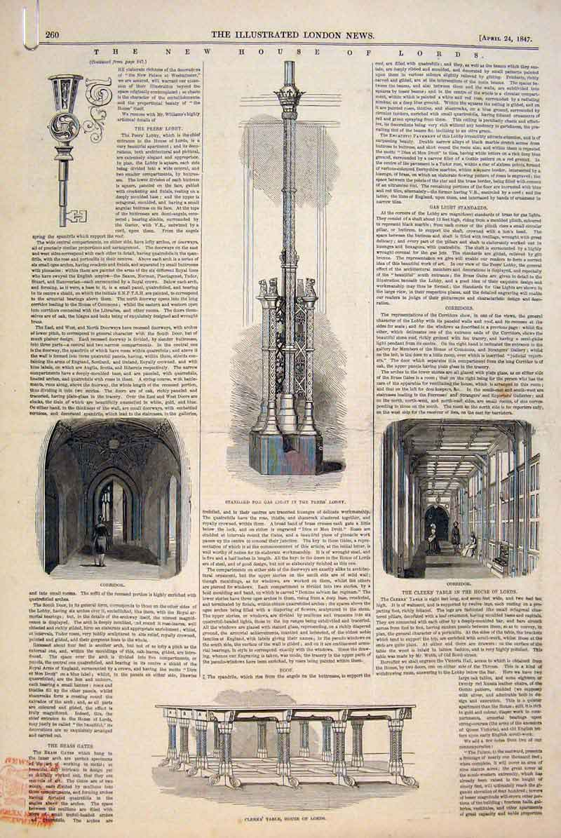 Print House Lords Gas Light Peers Lobby Brass Gates 1847 60Amaa0 Old Original