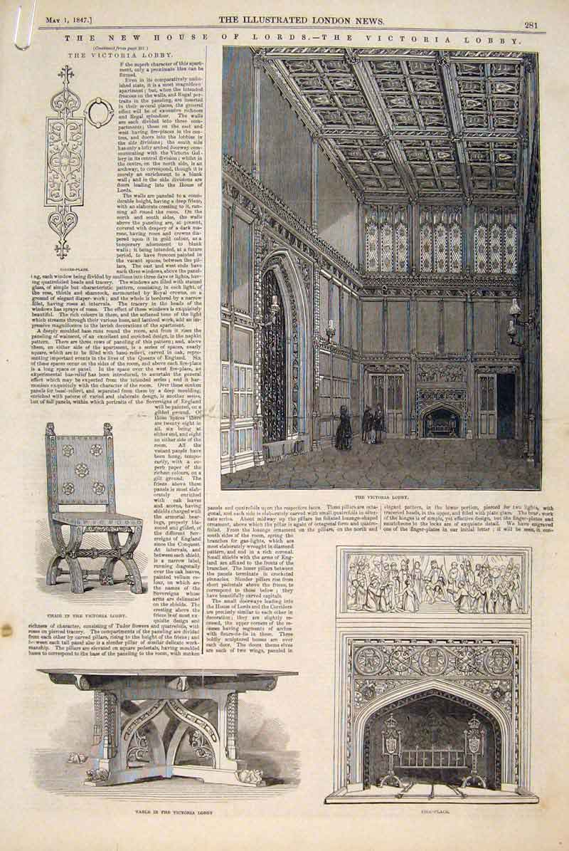 Print House Lords Victoria Lobby Throne London 1847 81Amaa0 Old Original