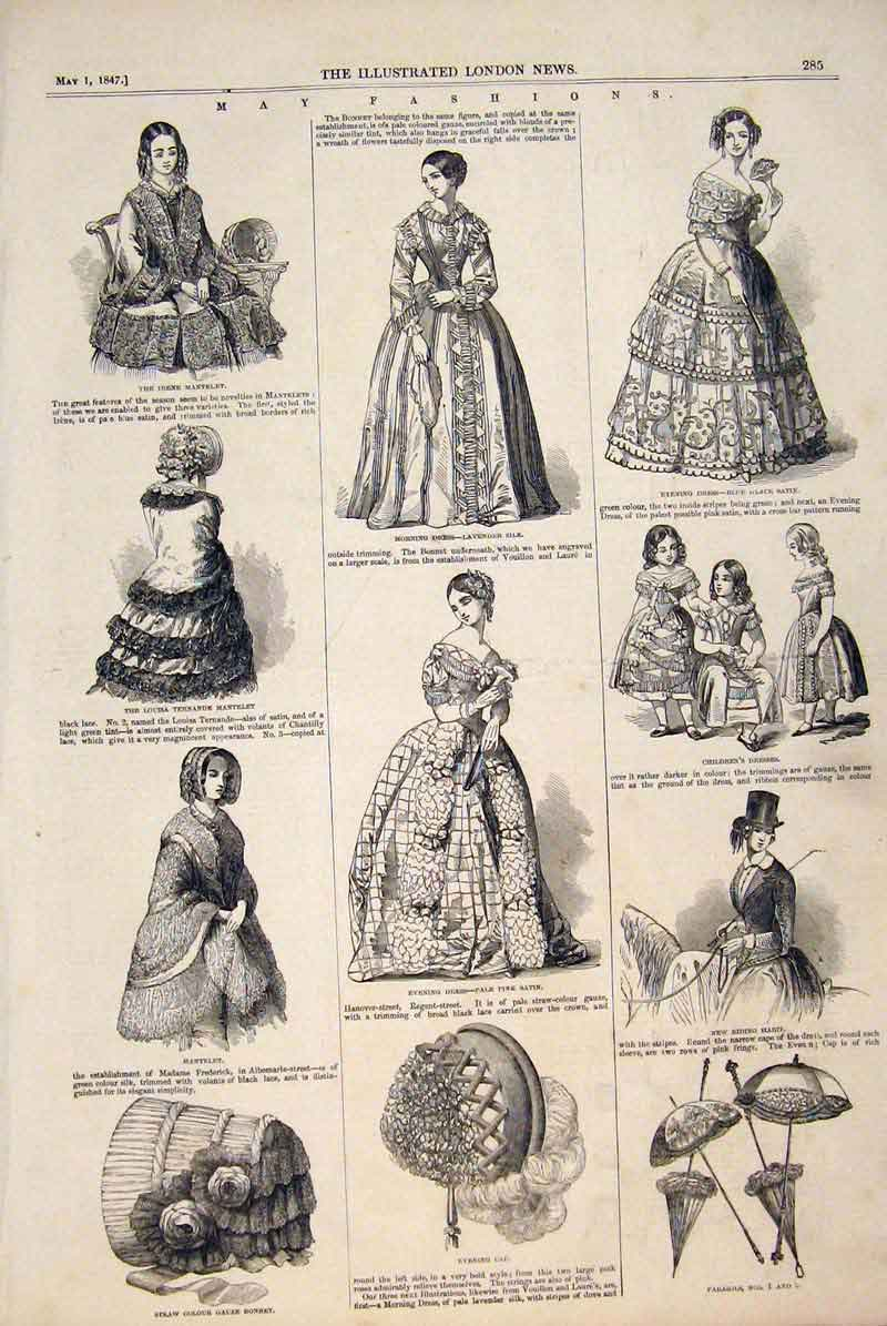 Print Paris Fashions Ladies Children Dress Satin Parasol 1874 85Maa0 Old Original