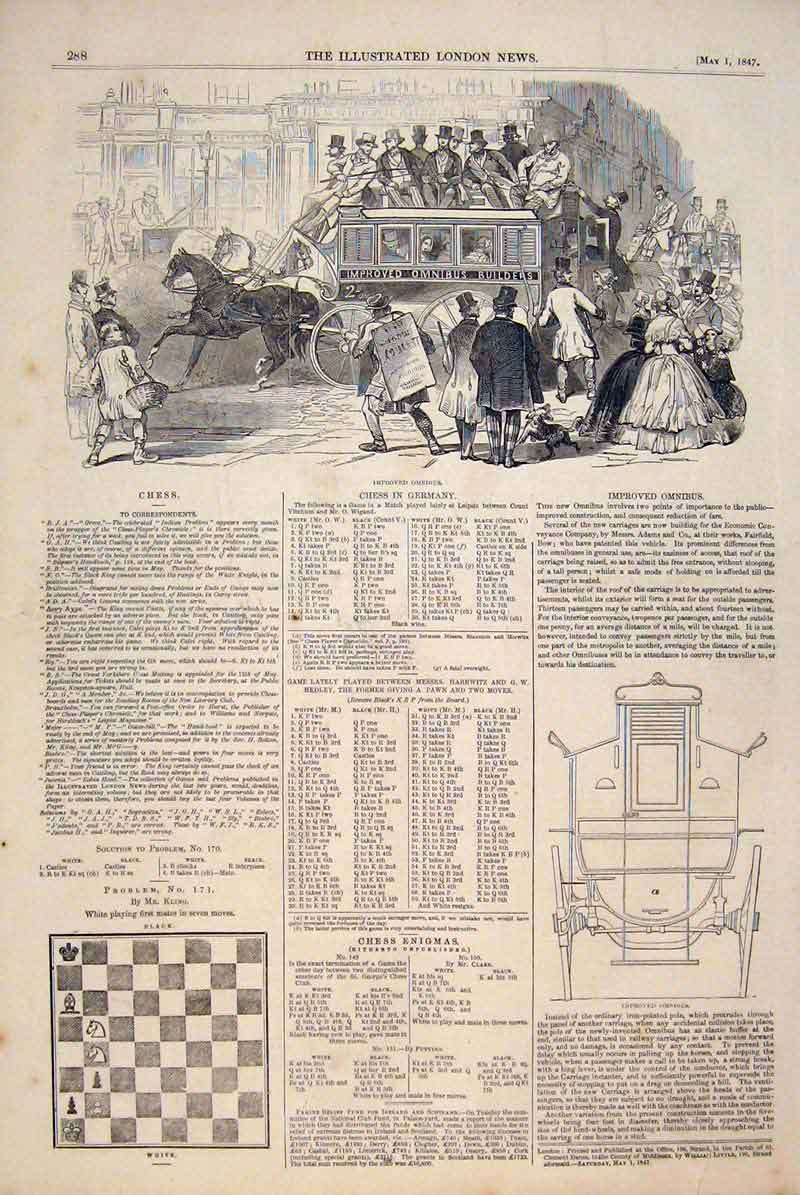 Print Omnibus Coach Carriage Adams Chess Problems Solutions 88Maa0 Old Original