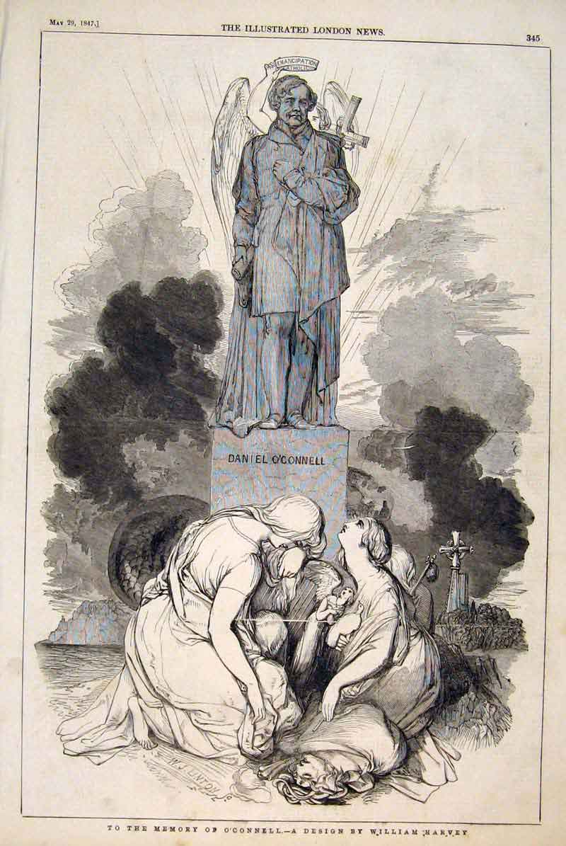 Print O'Connell Harvey Statue Memorial 1847 45Maa0 Old Original