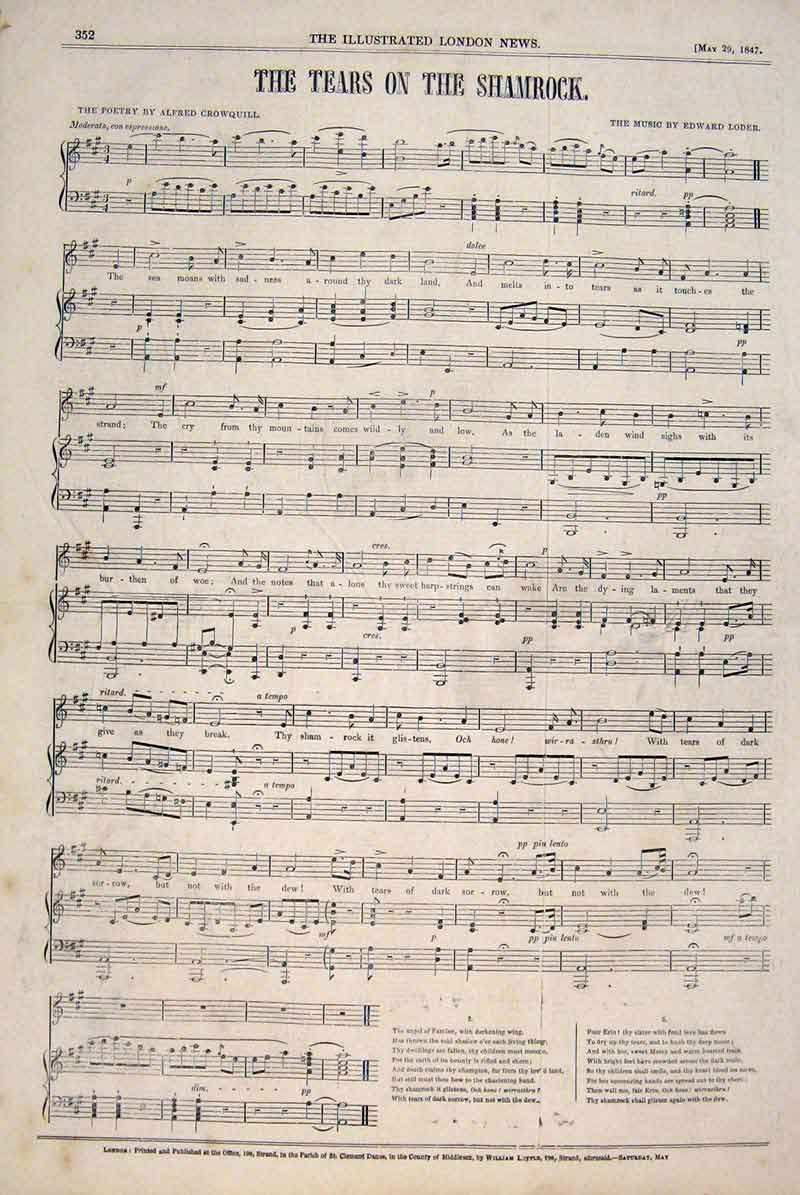 Print Song Music Tears Shamrock Crowquill Loder 1847 52Maa0 Old Original