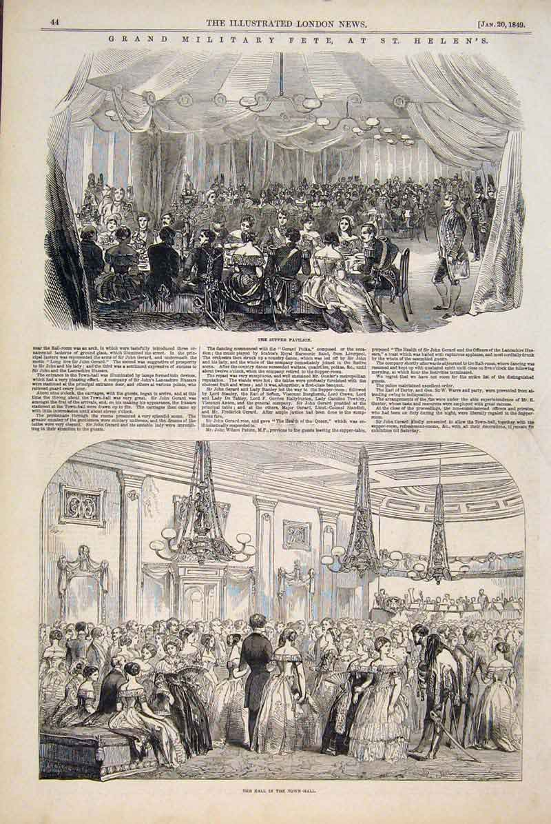 Print Military Fete St Helen Pavilion Ball Town Hall 1849 44Maa0 Old Original