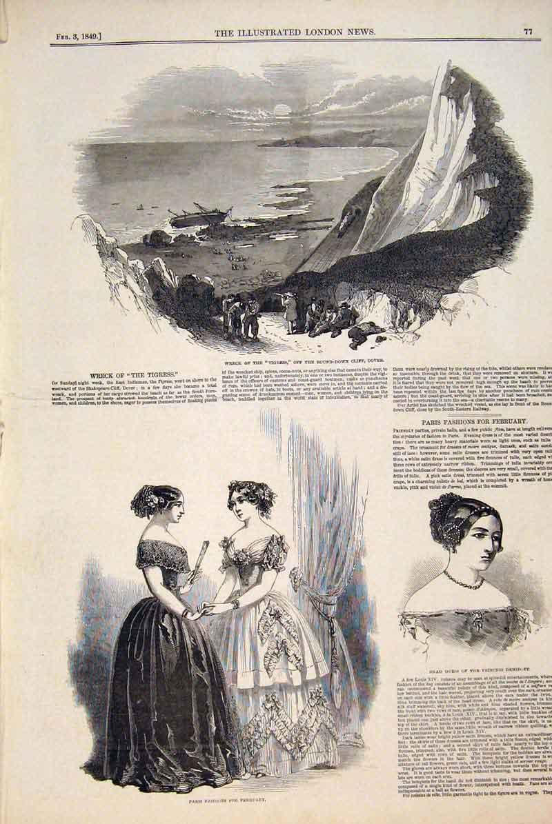 Print Wreck Tigress Dover Paris Fashions Head Dress Demidoff 77Maa0 Old Original