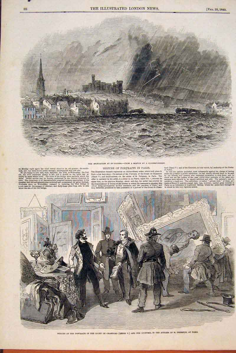Print Inverness Floods Scotland Portraits Chambord Paris 88Maa0 Old Original