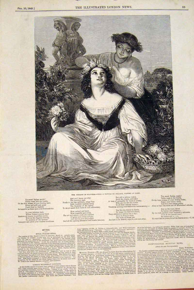 Print Wreath Flowers Pollack Rome Italy Ladies Fine Art 1849 89Maa0 Old Original