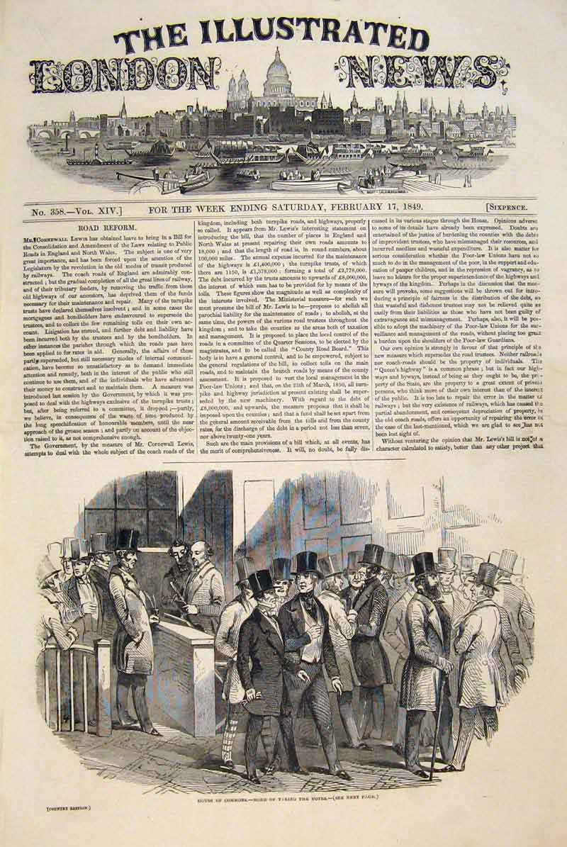 Print House Commons Vote Voting Election London 1849 98Maa0 Old Original