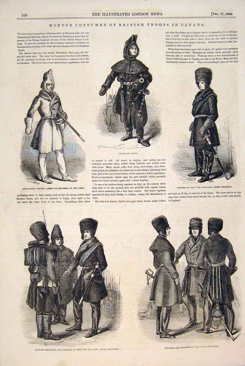 Print Winter Costumes British Troops Canada Highland Officer 08Maa0 Old Original