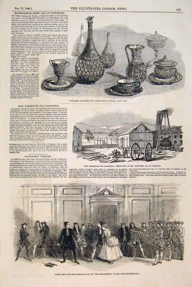 Print Worcester Porcelain Lind Iron Warehouse Liverpool 1849 09Maa0 Old Original