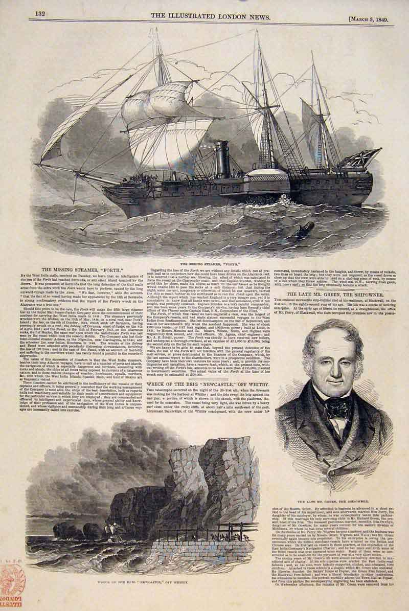 Print Steamer Forth Wreck Brig Newcastle Whitey Green 1849 32Maa0 Old Original