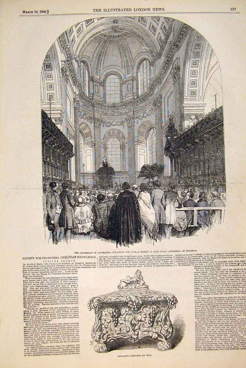 Print Archbishop Canterbury Cathedral Cellaret Bell 1849 57Maa0 Old Original