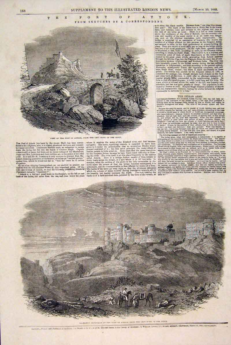 Print Fort Attock Sketches Indus River 1849 68Maa0 Old Original