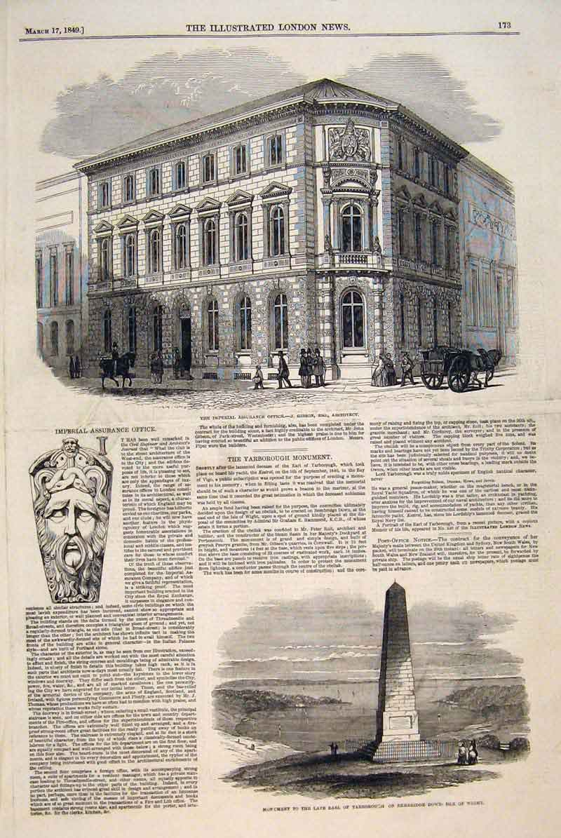 Print Imperial Assurance Office Gibson Yarborough Isle Wight 73Maa0 Old Original
