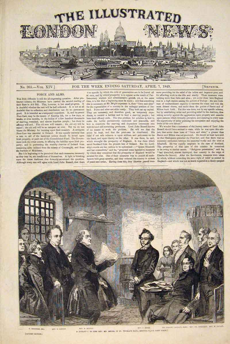 Print Reverend Shore Exeter St Thomas Prison 1849 18Maa0 Old Original