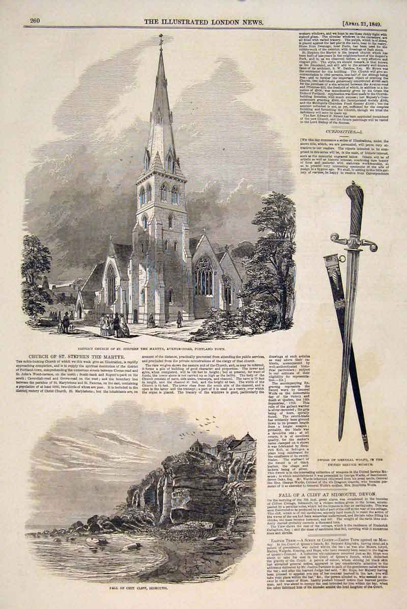 Print Church Portland Town Chit Cliff Sidmouth Sword Wolfe 60Maa0 Old Original