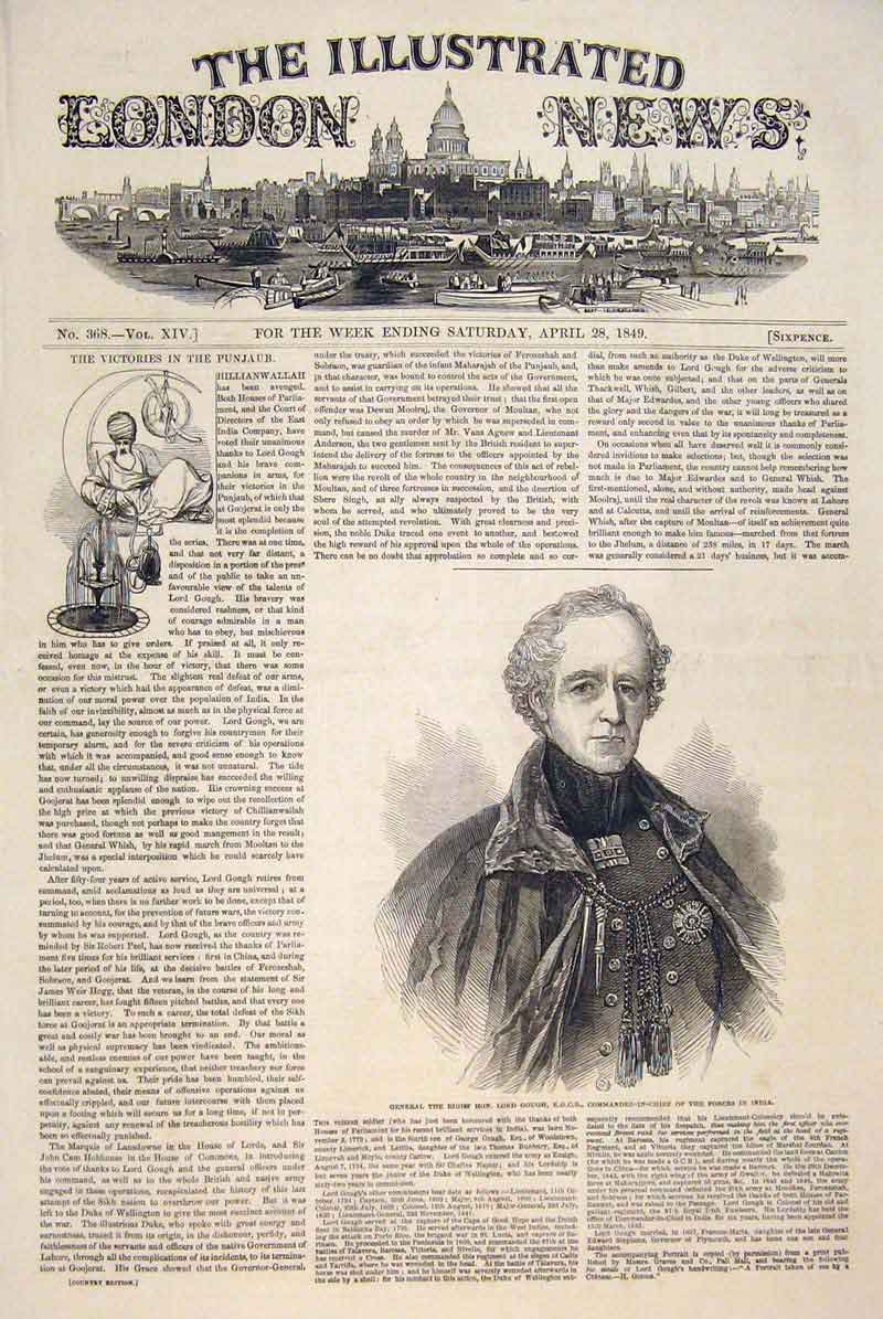 Print Portrait General Gough India Commander-In-Chief 1849 66Maa0 Old Original