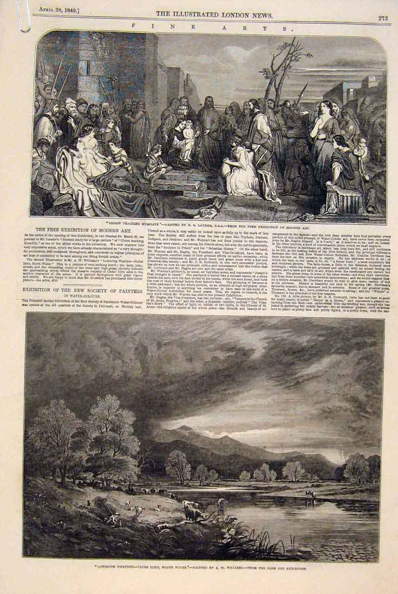 Print Fine Art 1849 British Institute Painters Artists 73Amaa0 Old Original