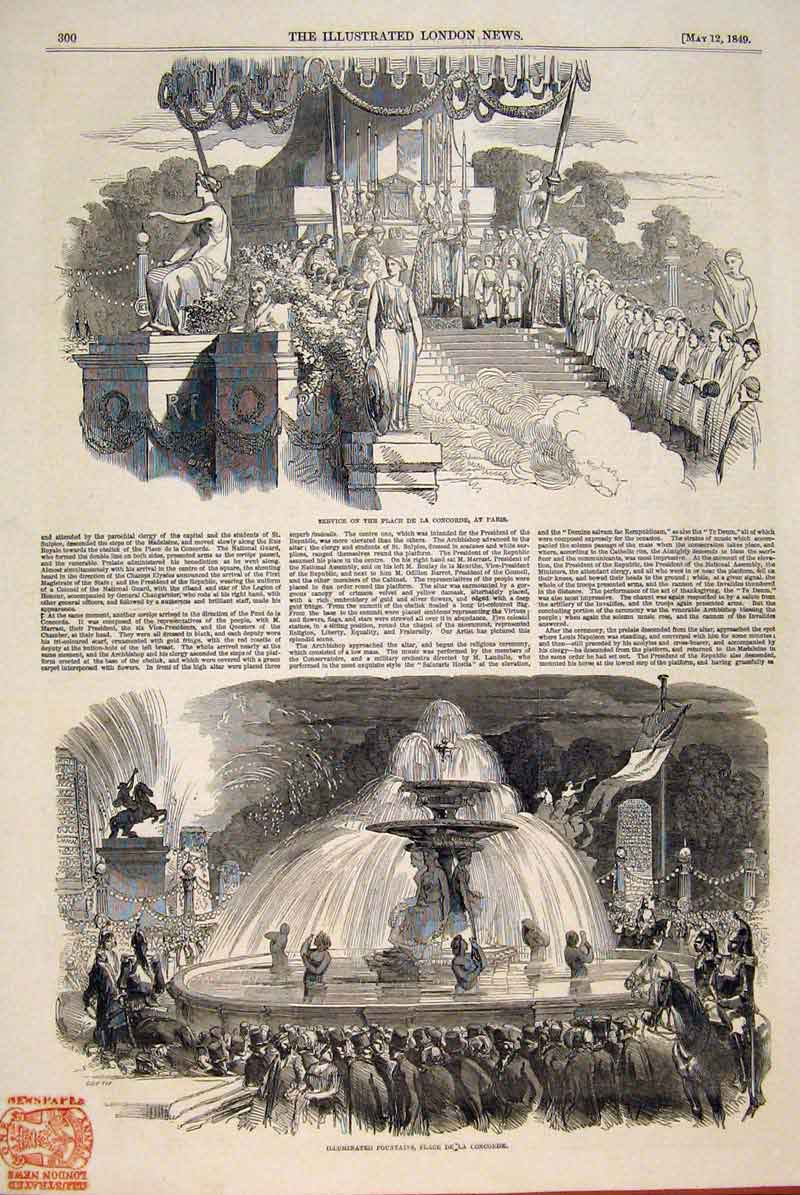 Print Service Place Concorde Paris France Fountains 1849 00Maa0 Old Original
