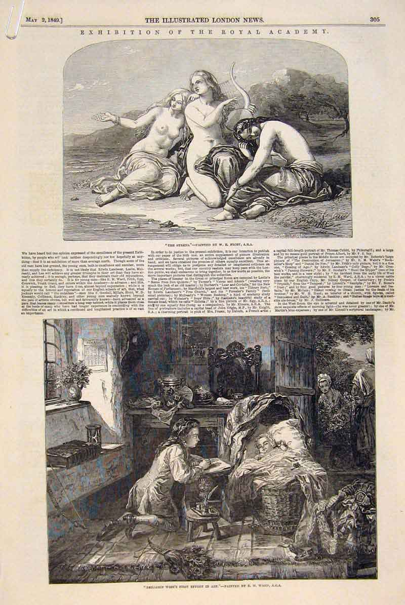 Print Exhibition Royal Academy Fine Art 1849 Artists 05Amaa0 Old Original
