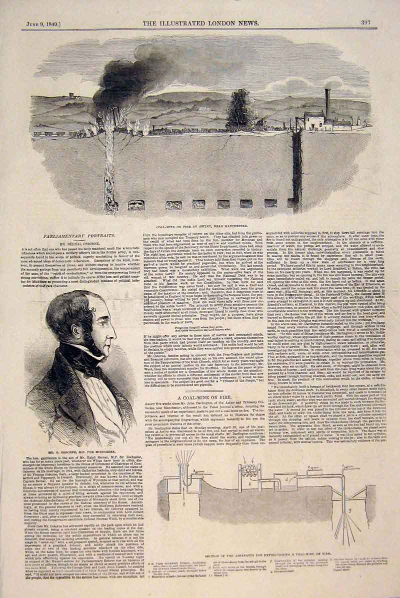 Print Coal Mine Manchester Osborne Middlesex 1849 97Maa0 Old Original
