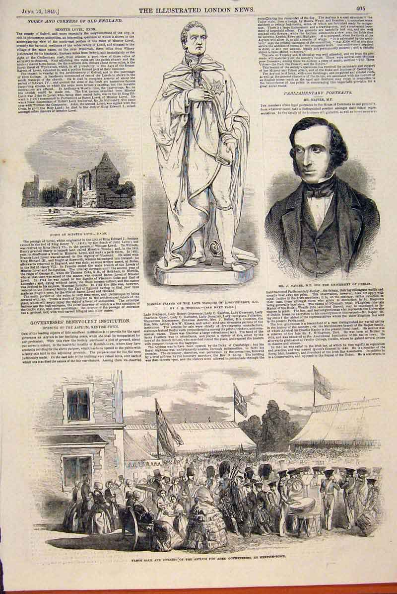 Print Lovel Oxon Statue Londonderry Thomas Napier Fancy Sale 05Maa0 Old Original