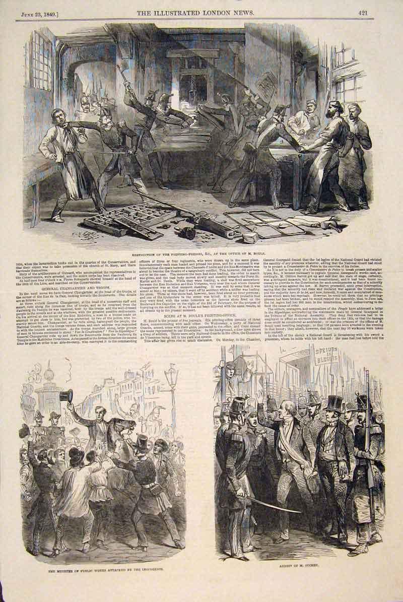 Print Boule Ing Press Minister Suchet Police 1849 21Maa0 Old Original