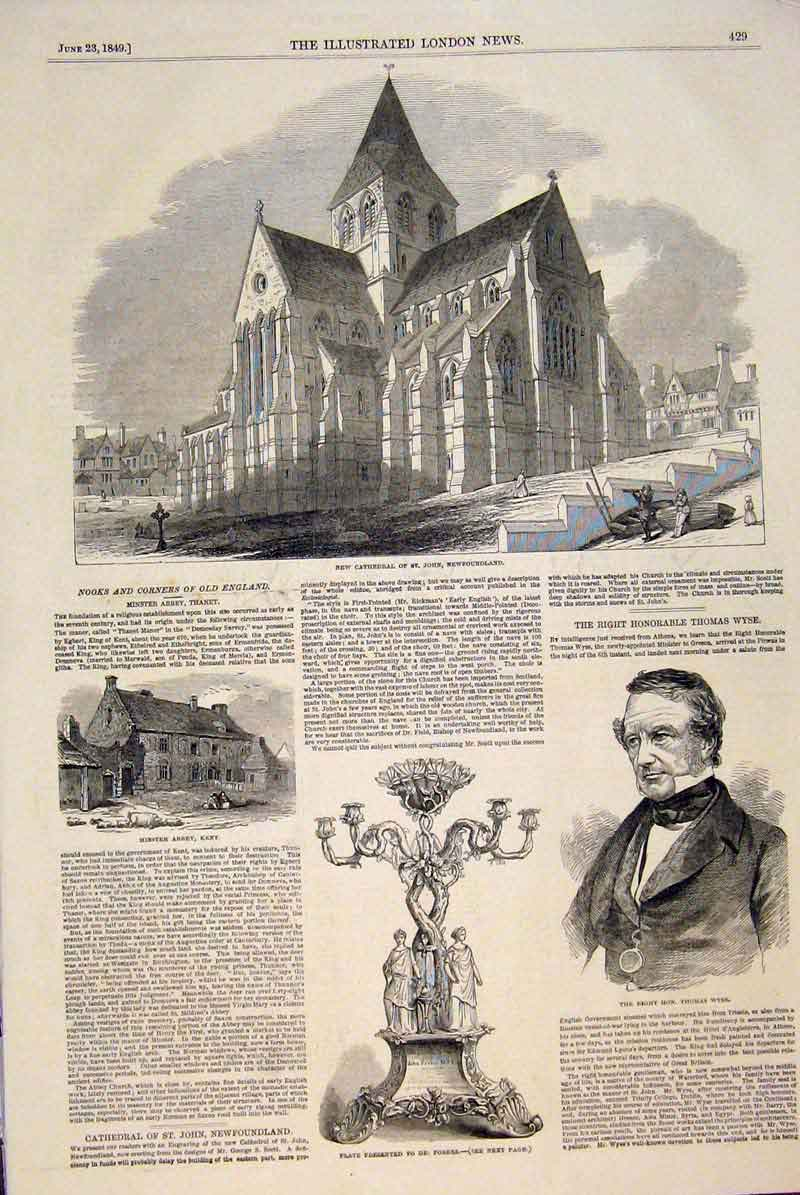 Print Cathedral Newfoundalnd Minster Abbey Kent Wyse Forbes 29Maa0 Old Original