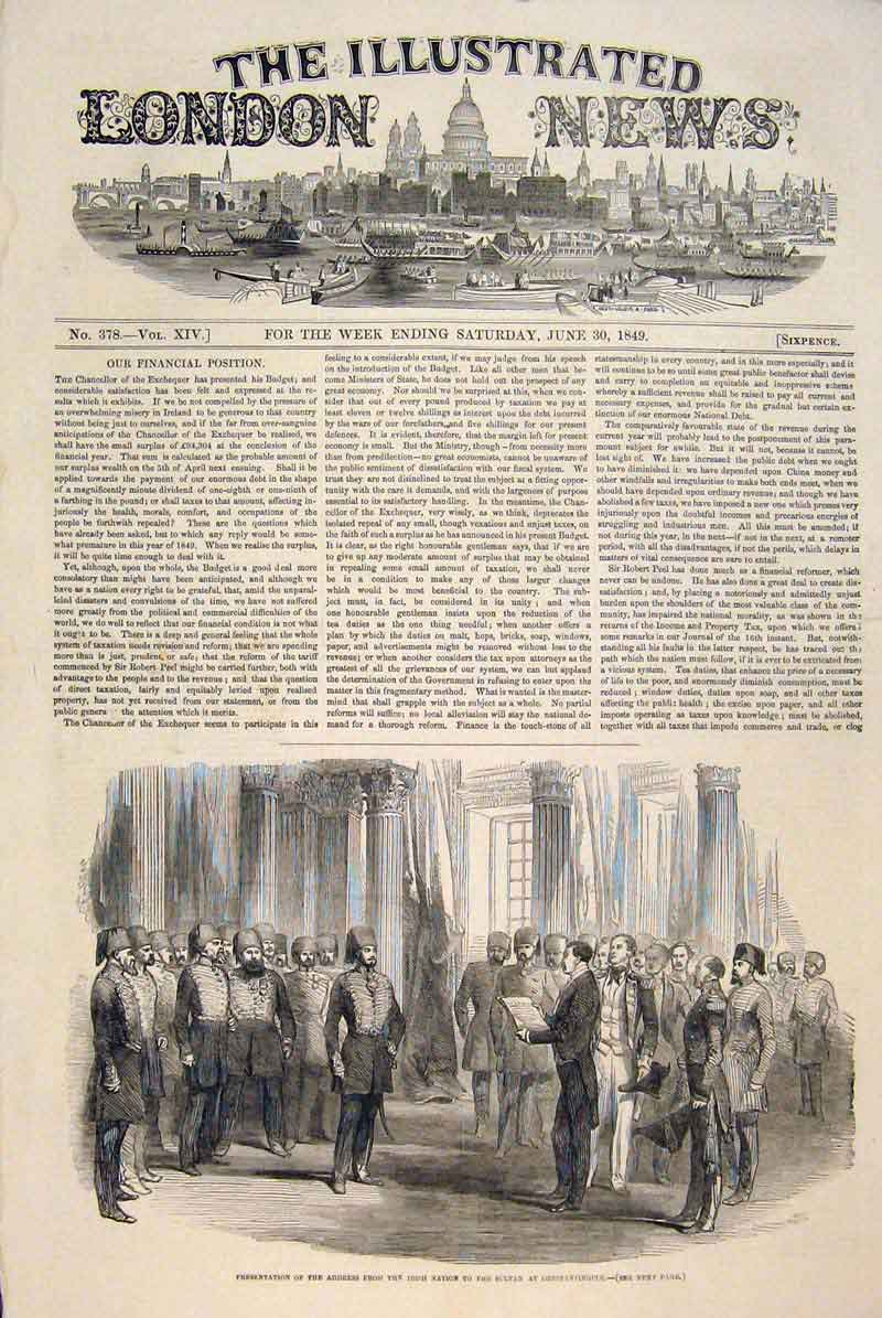 Print Irish Nation Sultan Constantinople Presentation 1849 34Maa0 Old Original