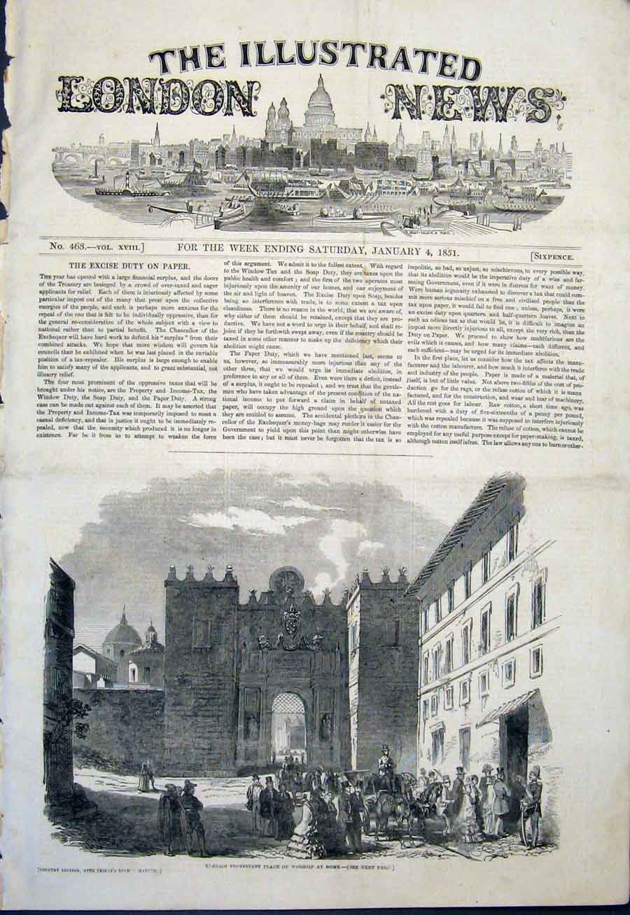 Print English Protestant Worship Rome Italy 1851 02Maa0 Old Original