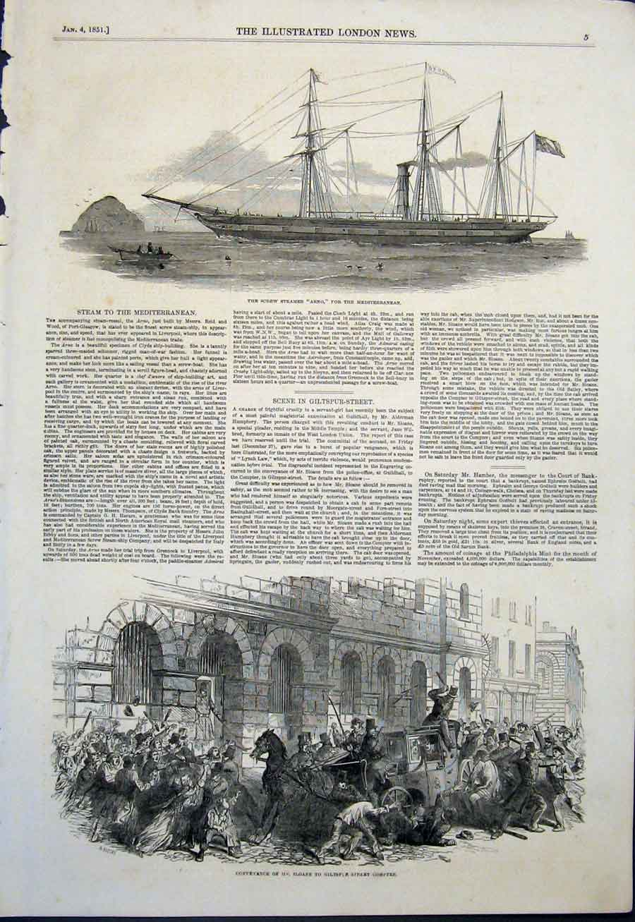 Print Screw Steamer Arno Ship Sloane Giltspur Street London 05Maa0 Old Original
