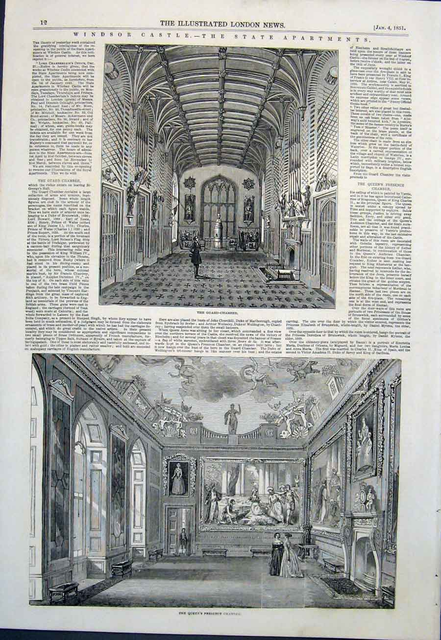Print Windsor Castle Apartments Guard Chamber 1851 12Maa0 Old Original