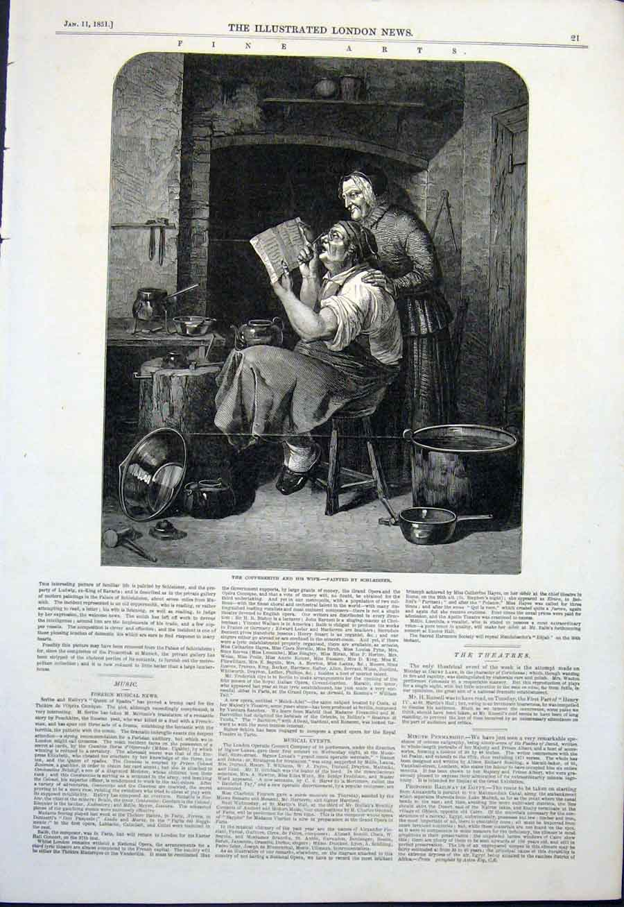 Print Coppersmith Wife Schleisner 1851 21Maa0 Old Original