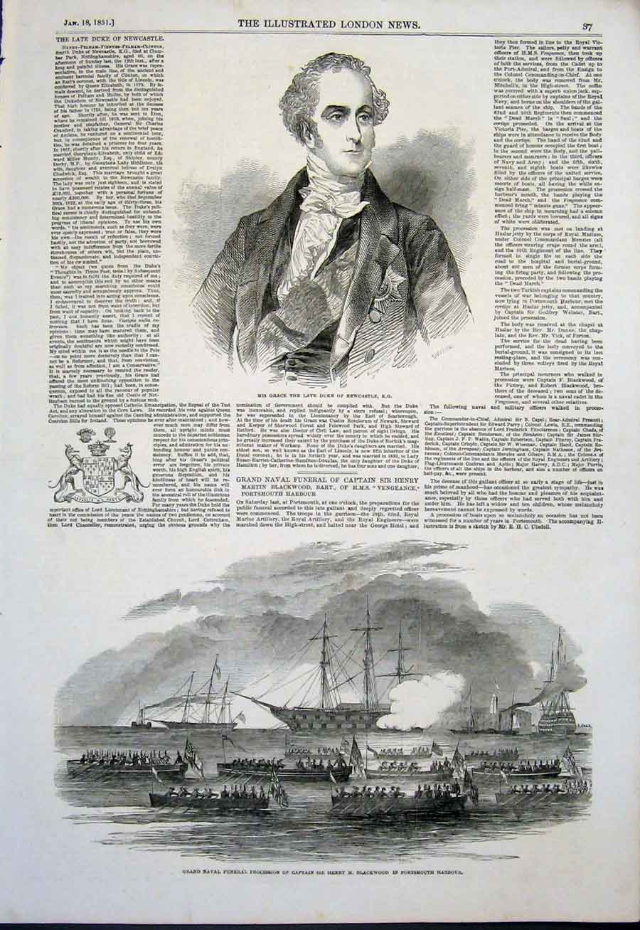 Print Newcastle Duke Naval Funeral Navy Blackwood Portsmouth 37Maa0 Old Original