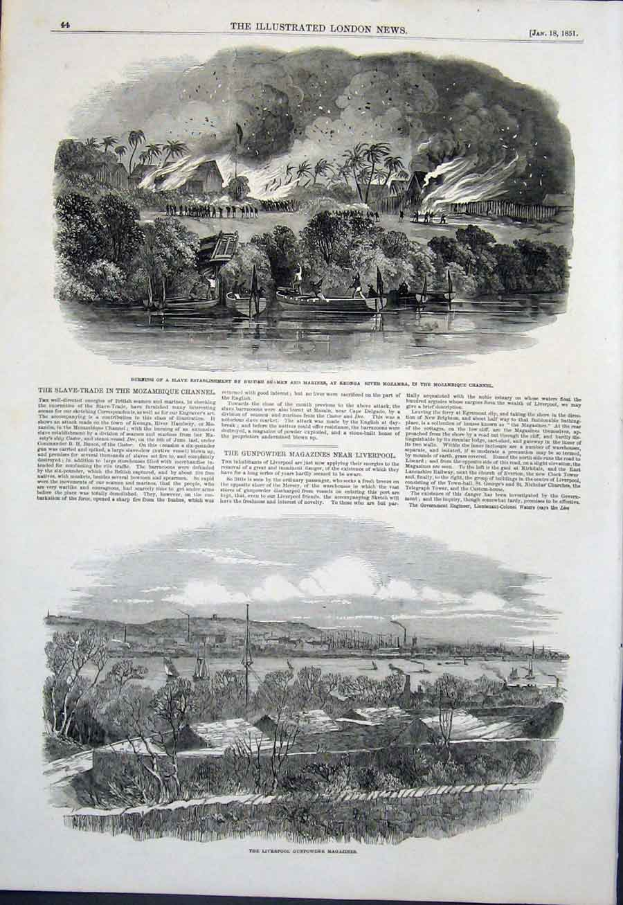 Print Keonga Mozambique Marines Seamen Liverpool Gunpowder 44Maa0 Old Original