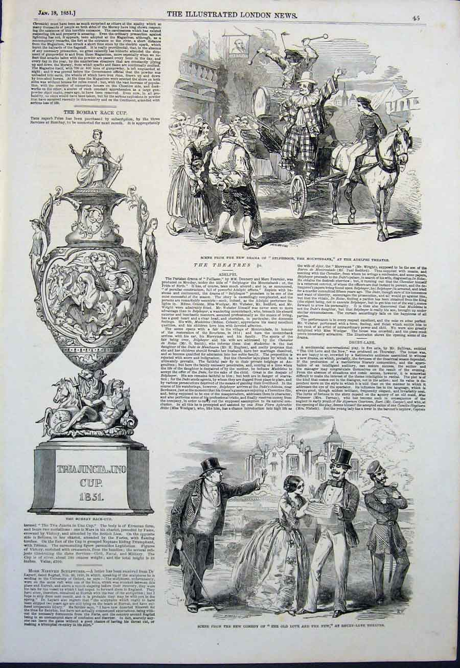 Print Bombay Race Cup India Adelphi Theatre Drury London 1851 45Maa0 Old Original