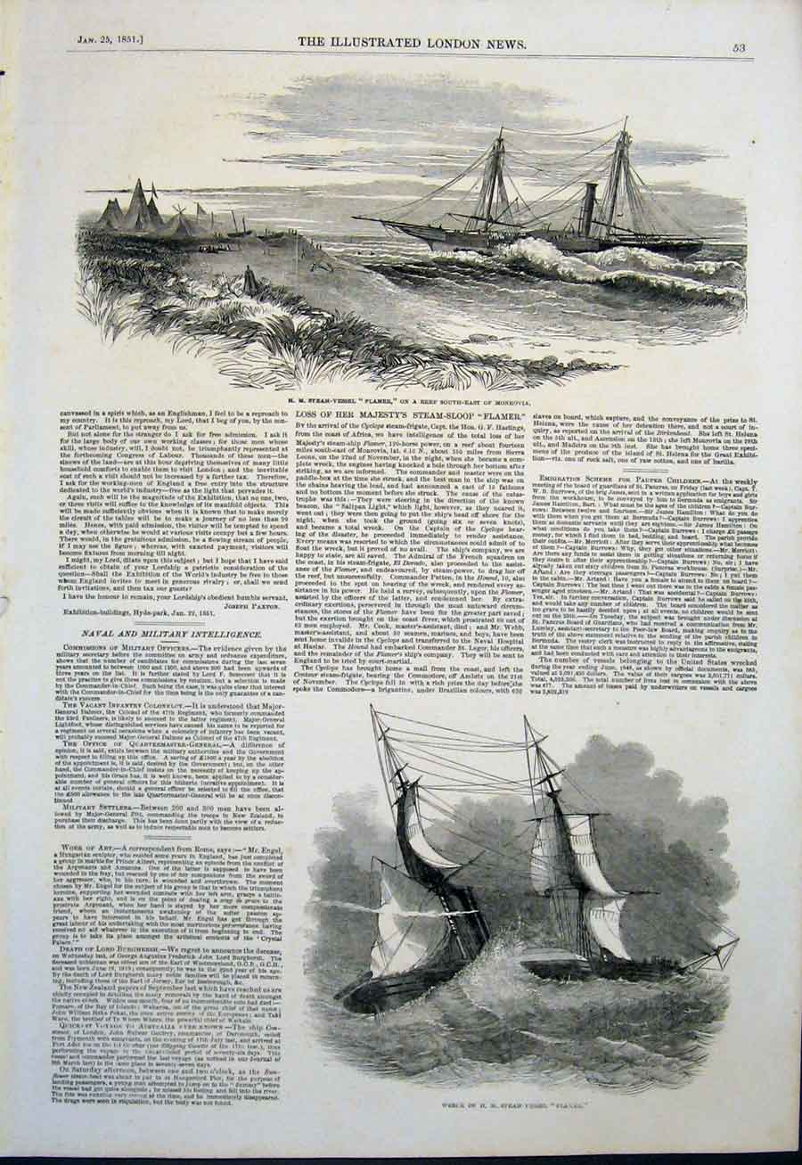 Print Steam Vessel Flamer Monrovia Wreck Steamer 1851 53Maa0 Old Original