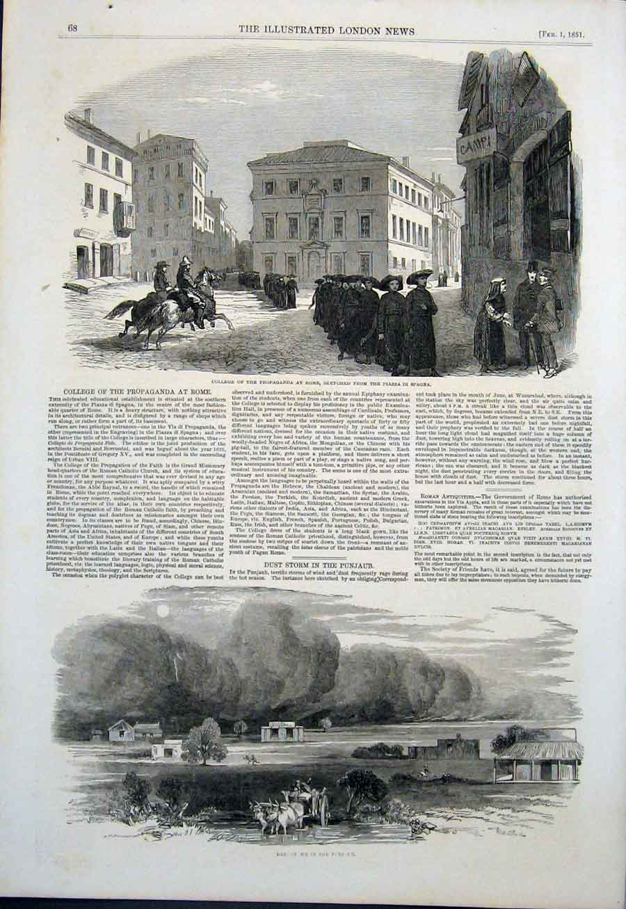 Print College Rome Piazza Di Spagna Dust Storm Punjaub India 68Maa0 Old Original