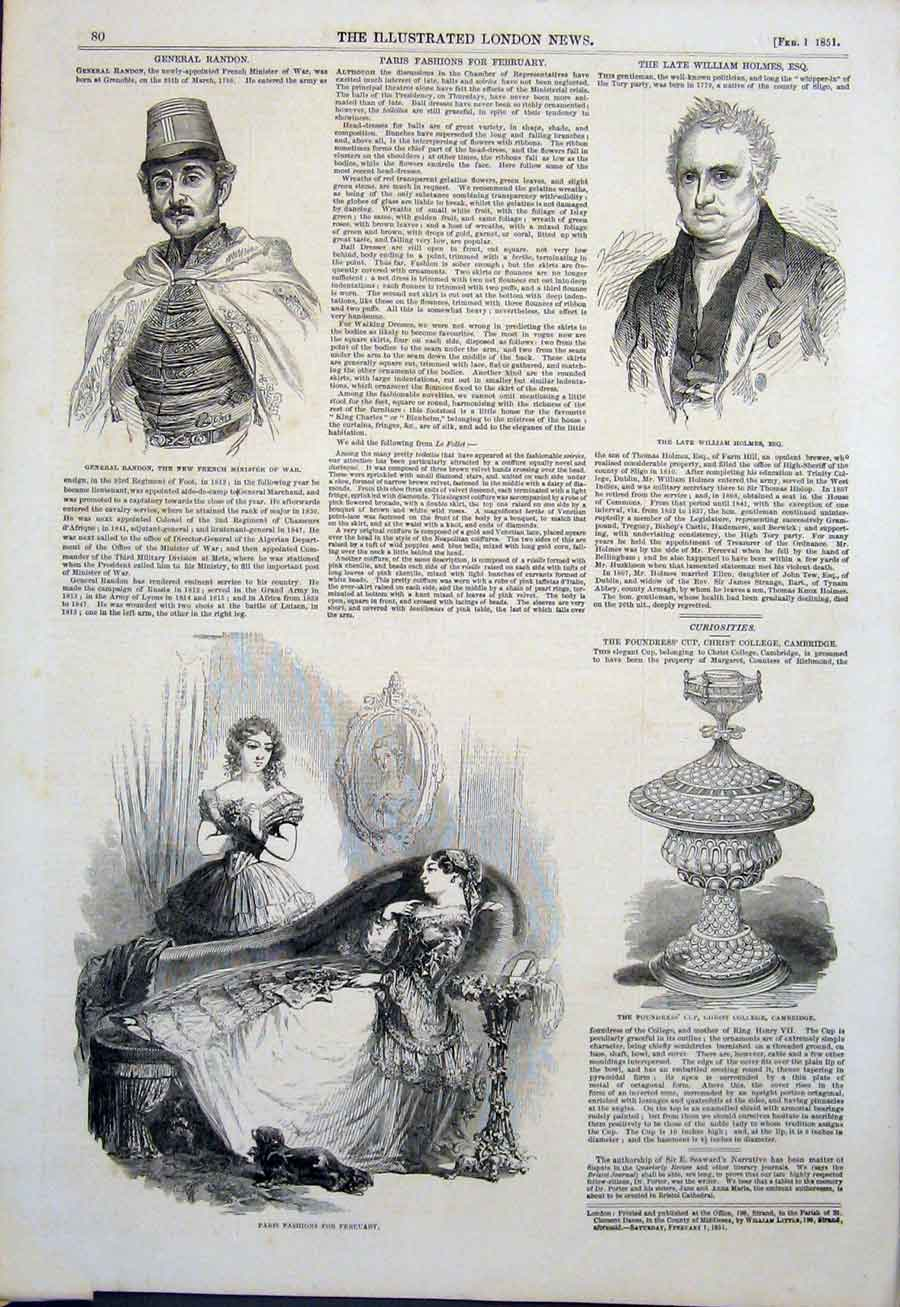 Print Portrait Randon Holmes Fashion Paris Cambridge Cup 1851 80Maa0 Old Original