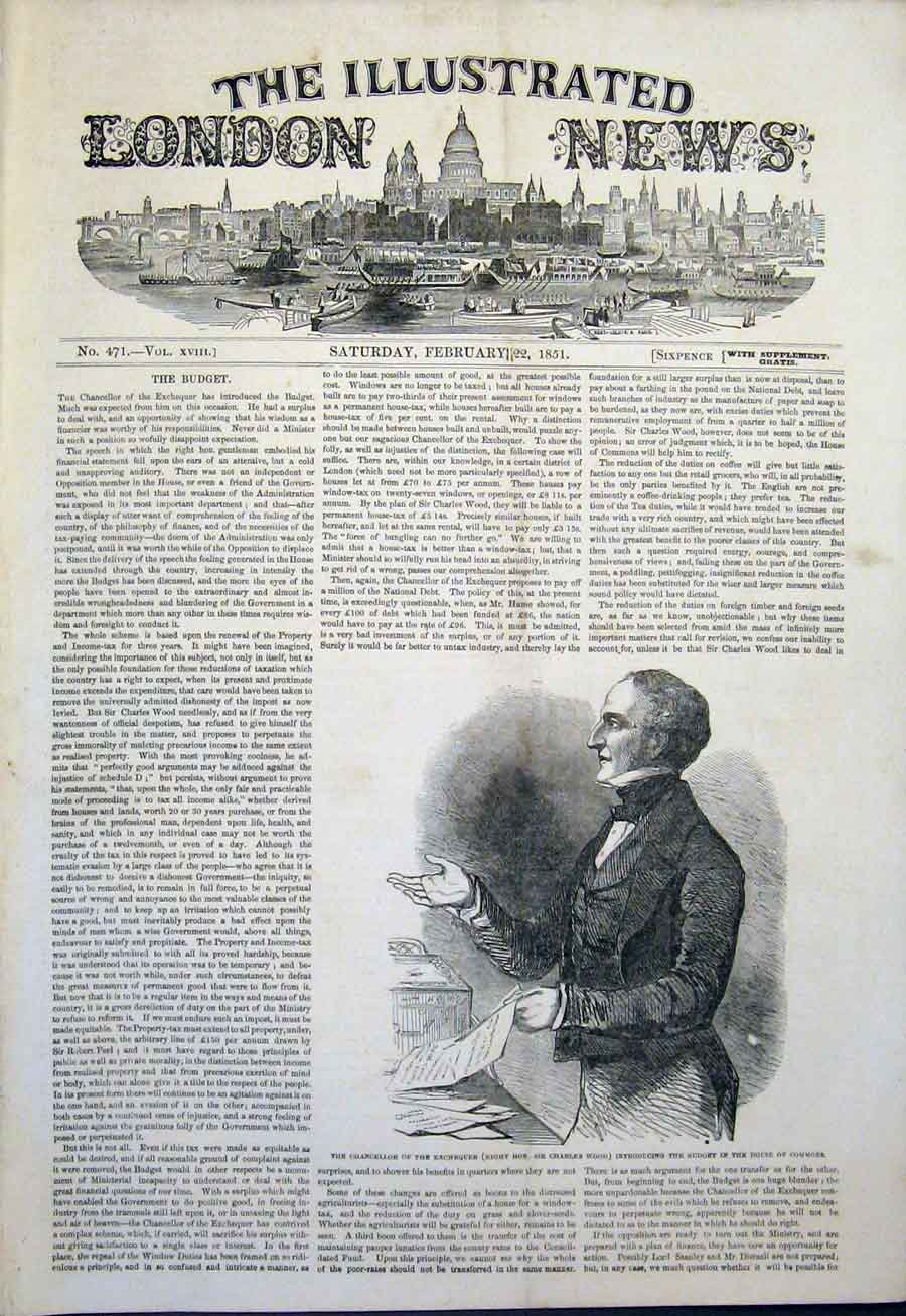 Print Portrait Charles Wood Chancellor Exchequer London 1851 54Maa0 Old Original